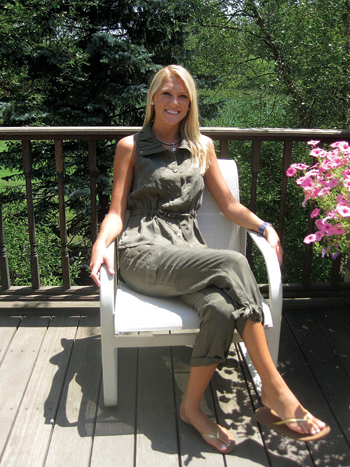 Rachel Ferne relaxes in a two-piece sleeveless vest and pants outfit from Cache.