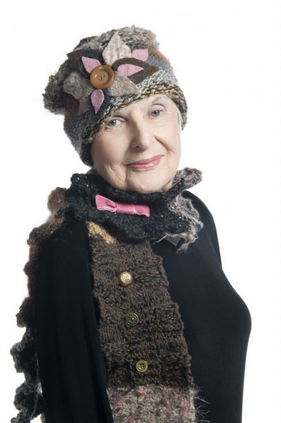 Jill Wieder's mother Betty Weiskopf, who died in 2011, was the inspiration for Wieder's new line of scarves. Weiskopf is pictured in knitted accessories designed by her daughter.