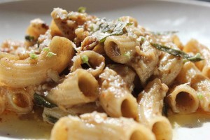 Trentina's chicken liver ragù, with house-made rigatoni, sage and crushed hickory nuts.