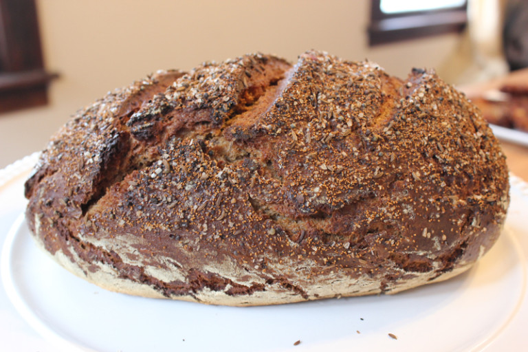 Schmaltz's Jewish rye bread, koji-accelerated and made using Ohio-grown rye and foraged wild carrots and mustard seeds.
