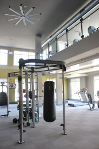 The two-story fitness studio