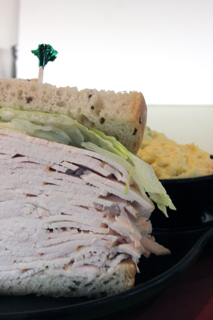 A jumbo turkey sandwich, with a side order of potato salad, from Jack's Deli.