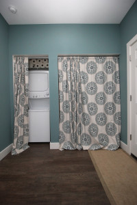 Decorative curtains to conceals a washer and dryer