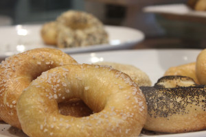 Pour serves salt, poppy seed, sesame seed, plain and everything bagels from The Cleveland Bagel Co.