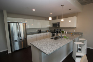 The kitchen in the Flats at East Bank Apartments' model unit showcase the potential for sleek, modern designs.