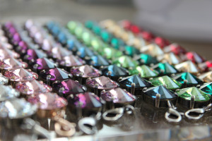 Swarovski crystal rivoli bracelets in an array of colors made by Synenberg.