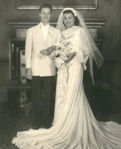 Dan and Goldie Ermine on their wedding day in 1946