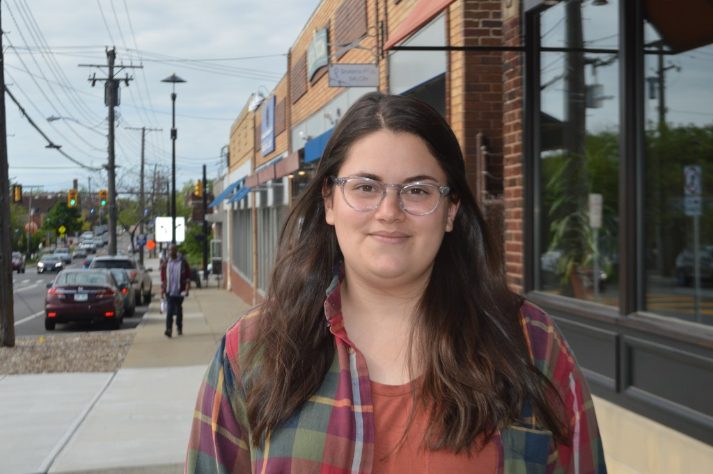 Joanna Levin stands on Lee Road in Cleveland Heights, near where she was when she received a round of insulting tweets for her pro-Israel activism.