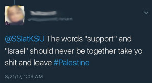"One of the anti-Israel tweets received by Joanna Levin in response to her posting she wished she could attend an ""Artists 4 Israel"" free T-shirt event earlier this year at Kent State University."