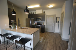 The kitchen in The Edison's one-bedroom model display its spacious layout and sleek, modern design.