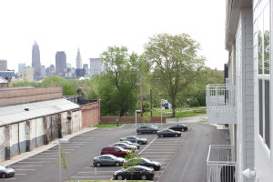 From the balcony of the two-bedroom model, downtown Cleveland's skyline can be seen.