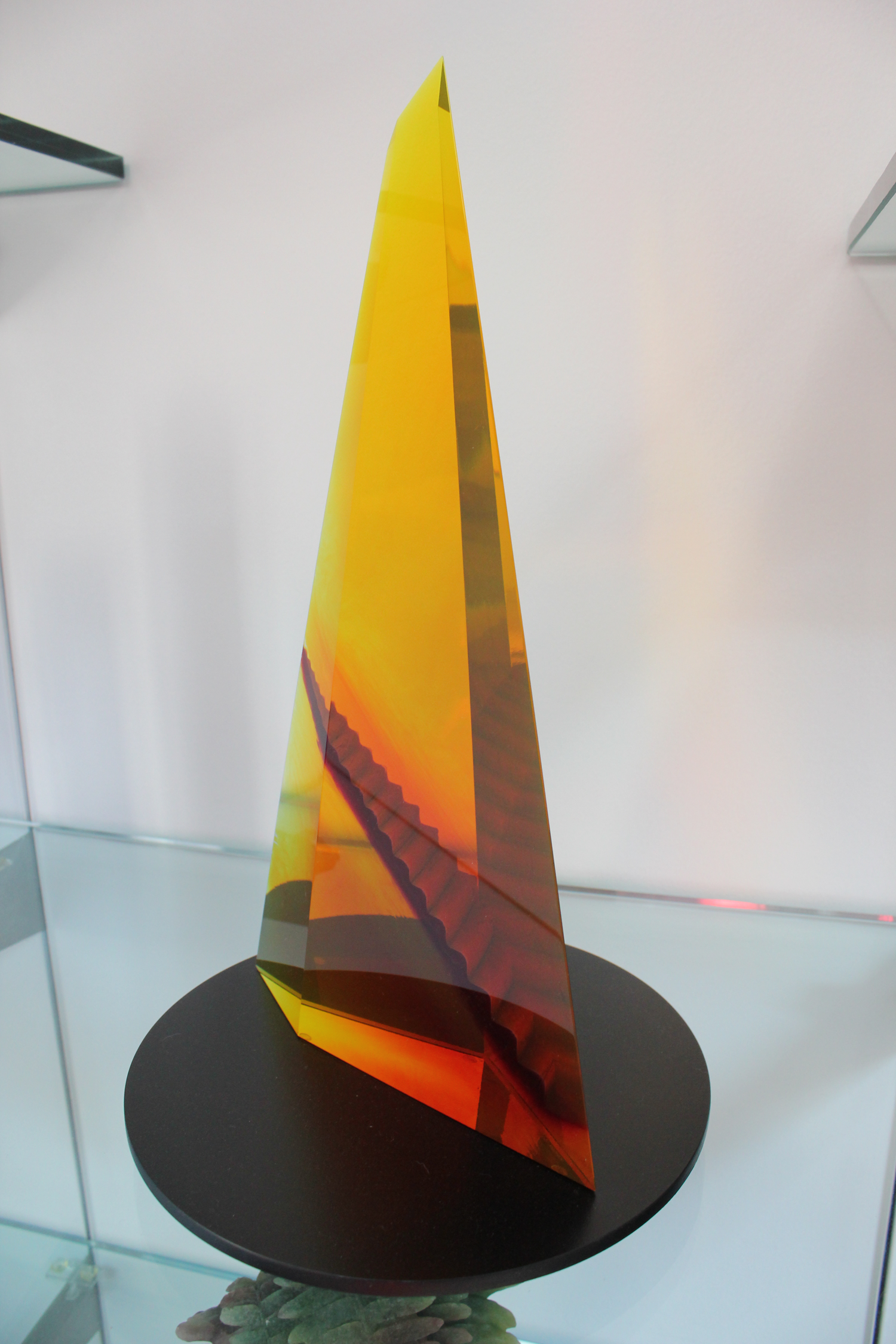 """""""Escher's Tower"""" by Mark Peiser, 1986, cast glass form with staircase interior."""