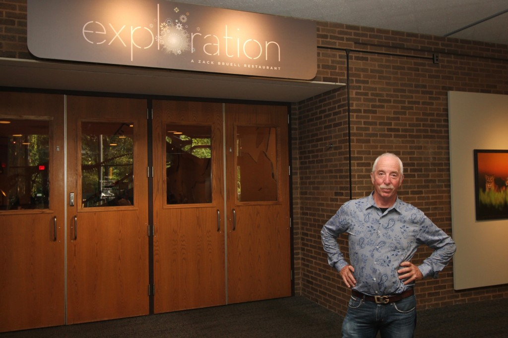 Chef and restaurateur Zack Bruell outside Exploration's main entrance inside the Cleveland Museum of Natural History.