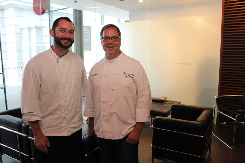 From left, Joe Perez, executive chef, and Douglas Katz, chef partner, standing inside Provenance at the Cleveland Museum of Art