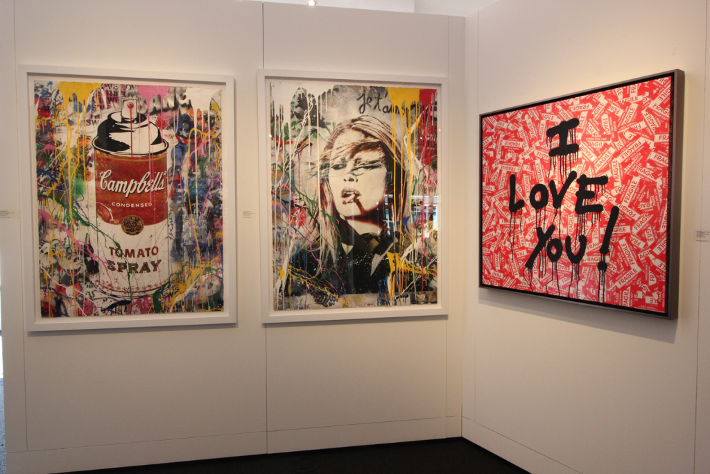 "Examples of art available at Contessa Gallery in Lyndhurst are ""Tomato Spray"" by Mr. Brainwash, 2017, silkscreen and mixed media on paper, 50 inches by 38 inches unframed; ""Brigitte Bardot"" by Mr. Brainwash, 2017, silkscreen and mixed media on paper, 50 inches by 38 inches unframed"