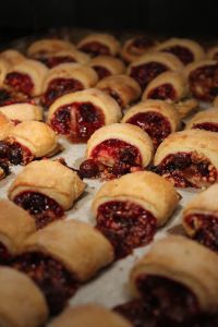 Among the ingredients in Davis Bakery's raspherry rugelach are red raspberry jelly (with seeds), cinnamon sugar, granulated sugar, walnuts and raisins