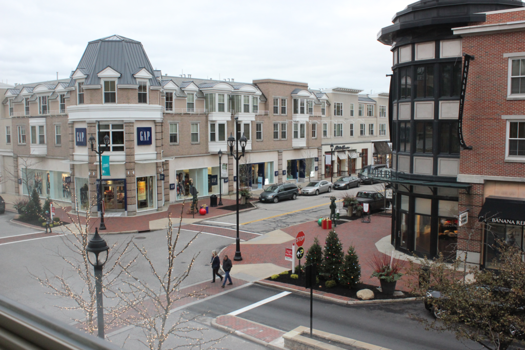 The view from a second-floor apartment at Crocker Park shows there's no shortage of retail of which residents can take advantage.