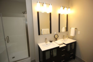 A portion of one of the bathrooms in the two-bedroom model.