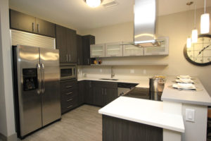 The kitchen in the two-bedroom model apartment suggests there's plenty of storage and space for cooking – if one isn't taking advantage of the many restaurants at Crocker Park.