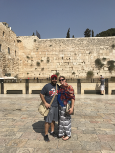 The pair visits the Western Wall in Jerusalem. Lee and Danielle Steinbock