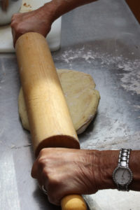Levine uses her mother's rolling pin to work the dough.