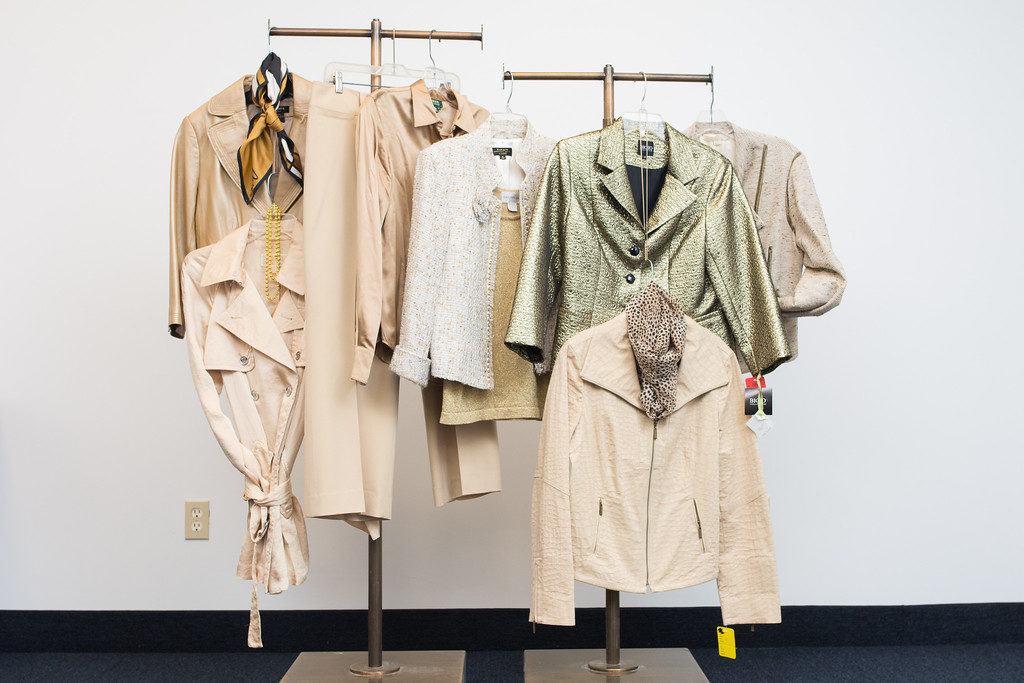 A selection of gold-colored clothing that will be available at this year's Designer Dress Days, which marks the event's golden anniversary. Photo by RAD | Photographer / NCJW/Cleveland