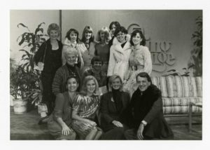 "Host Fred Griffith, bottom right, is joined by NCJW members to promote Designer Dress Days on the set of WEWS-TV's ""The Morning Exchange"" in 1983. Photo credit Western Reserve Historical Society"