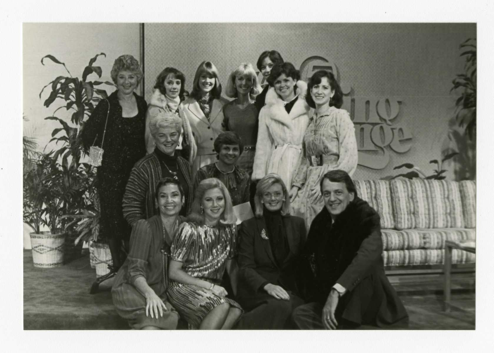 """Host Fred Griffith, bottom right, is joined by NCJW members to promote Designer Dress Days on the set of WEWS-TV's """"The Morning Exchange"""" in 1983. Photo credit Western Reserve Historical Society"""