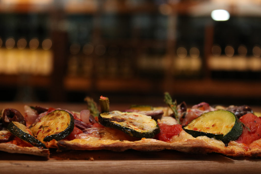 Pinstripes' roasted vegetable flatbread